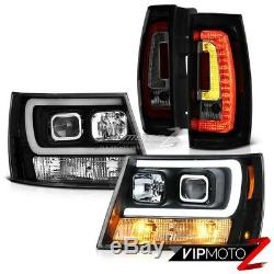 07-14 Chevy Tahoe Raven Black Drl Head Lights Dark Tinted Tail Set Replacement