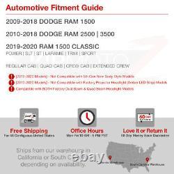 09-18 Dodge Ram Pickup LED Neon Tube C-Shape DRL Projector Headlight Lamp BLACK