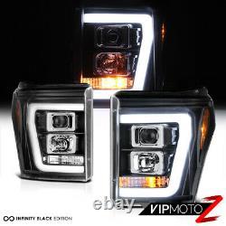 11-16 Ford F250 F350 SuperDuty Black OLED Neon Tube DRL Projector Headlight Lamp