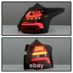 12-14 Ford Focus Hatchback Black Smoke LED Bar Sequential Signal Tail Light