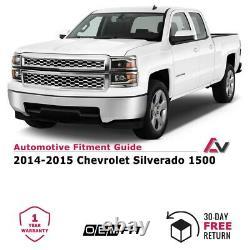 14-15 For Chevy Silverado Chrome Black Projector Headlights LED DRL Light Bar