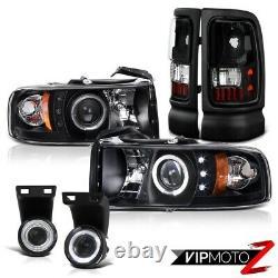 1994-2001 Dodge Ram Obsidian Black DRL Head Lights LED Tail Lamps Projector Fog