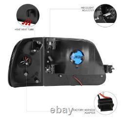 1997-2003 F150 Lariat Smoke Parking DRL Headlamps Black Tail Lights Assembly LED