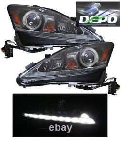 2006-2010 For Lexus IS250 IS350 Halogen BLACK Projector Lights White LED DRL
