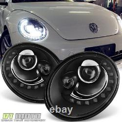 2006-2010 VW Beetle Projector Headlights withDRL LED Running Light Pair Left+Right