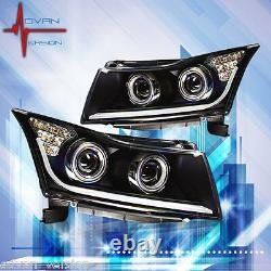 2011-2016 Chevy Cruze Dual Projector LED SIGNAL DRL Black Head Lights WINJET