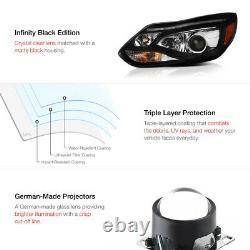 2012-2014 Ford Focus Sedan Hatchback Black LED DRL Projector Headlight +SMD Bulb