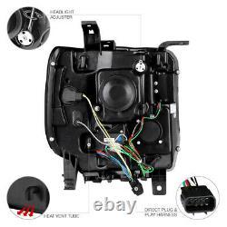 2014 2015 GMC Sierra 1500 2500HD 3500HD Black OLED DRL Neon Tube Headlights Lamp