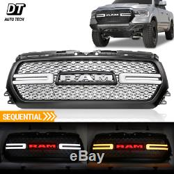 2019-2020 Ram 1500 Mesh Grille Rebel Style Front Grill LED Sequential DRL Light