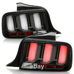 3D LED Tube Sequential Signal Lamp For 05-09 Ford Mustang Tail Light Black Clear