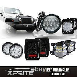 7 75W CREE LED Headlights with Turn Signal Fog Side & Taillight Combo For Jeep