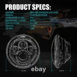 90W CREE LED 7 Headlights Bluetooth RGB Halo Ring For 97-18 Jeep Wrangler JK
