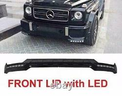Aftermarket B-Style Front Bumper Lower Lip White LED DRL G63 G65 G-Class 13-18