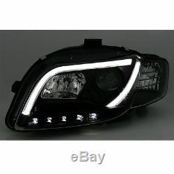 Audi A4 B7 2004 2008 Black Drl Light Bar Strip Projector Headlights Pair