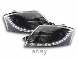 Audi Tt 8n 1998-2007 Black Projector Headlights With Drl Daytime Running Lights