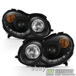 Black 2003-2009 Mercedes Benz W209 Projector Headlights with LED DRL Running Light