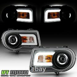 Black 2005-2010 Chrysler 300C LED Light Bar DRL Projector Headlights Left+Right