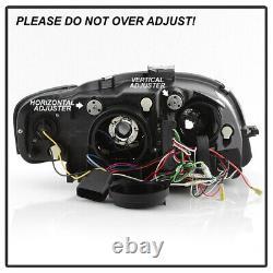 Black 2006-2008 Audi A4 R8 LED Strip DRL Lights Projector Headlights Headlamps