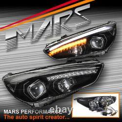 Black 3D LED DRL Projector Head Lights & LED Indicators for Ford Focus LZ 15-18