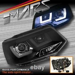 Black 3D LED DRL Projector Head Lights for VolksWagen VW Transporter T5 11-15
