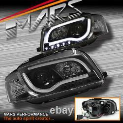 Black 3D LED Stripe DRL Projector Head Lights for AUDI A3 8P 03-08 Pre Update