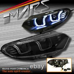 Black 3D Stripe U Bar LED DRL Projector Head Lights for Ford EcoSport BK 13-16