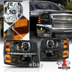 Black/ClearLED Strip DRLHeadlight Light Lamp Amber Signal for 07-14 Silverado