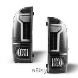 Black Clear For 2016-2019 Toyota Tacoma DRL LED Tube Tail Lights Brake Lamps