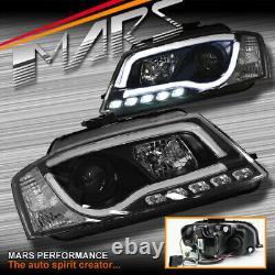 Black DRL 3D LED Stripe Projector Head Lights for AUDI A3 8P 08-12 Update Hatch