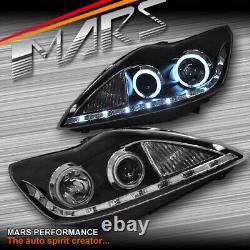 Black DRL Day Time CCFL Angel-Eyes Head lights for FOCUS LV 08-11 Hatch