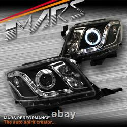 Black DRL LED CCFL Angel Eyes Projector Head Lights for Toyota Hilux 11-15 VIGO