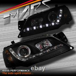Black DRL LED Head Lights Headlight Ford Falcon Fairmont BF Series 2 Sedan Ute