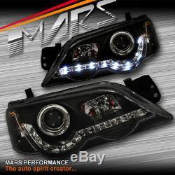 Black DRL LED Head Lights for Ford Falcon FPV BA BF Sedan Ute XR6 Turbo XR8 XR