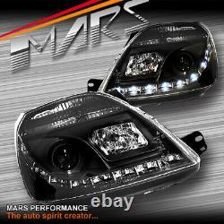 Black DRL LED Head Lights for Ford Fiesta 03-08 Hatch WP WQ XR4 Turbo