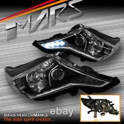 Black DRL LED Projector Head Lights for Toyota Land-Cruiser FJ150 Prado 14-17