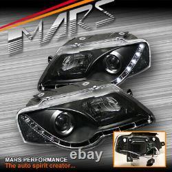 Black DRL LED Projector Head Lights for VolksWagen VW Passat B6 2006-2010