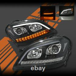 Black DRL Projector Sequential Indicator Head Lights for Mercedes ML W164 06-08