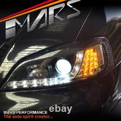 Black Day-Time DRL Projector Head Lights LED Indicator for Holden Astra G 98-04