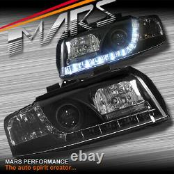 Black Day Time LED DRL Projector Head Lights for AUDI A4 B6 00-05 Sedan Avant