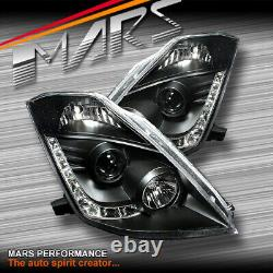 Black Day-Time LED DRL Projector Head Lights for Nissan 350Z Z33 06-08 FairLady