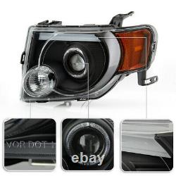 Black Halo DRL LED Tube Signal Lamp Projector Headlight For 08-12 Ford Escape