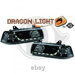Black Headlights with LED DRL daytime lights FOR BMW E36 coupe cabrio 90-99
