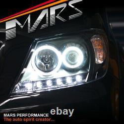 Black High Power LED DRL Halo Projector Head Lights for TOYOTA HILUX VIGO 05-11
