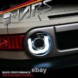 Black LED 3D DRL Dual Beam Projector Head Lights for Toyota FJ-Cruiser 2011-2017