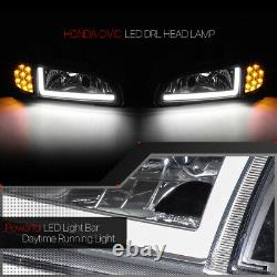 Black LED CORNER SIGNAL+LIGHT BAR DRL Headlight for 92-95 Honda Civic 2/3Dr