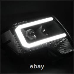 Black LED C-LIGHT BAR DRL Projector Headlight Clear Signal for 09-14 Ford F150