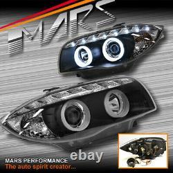 Black LED DRL 3D Angel-Eyes Projector Head Lights for BMW E81 E82 E87 E88