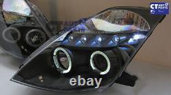 Black LED DRL & Angel Eyes Projector Head Lights Nissan 350Z Z33 03-05 Fairlady