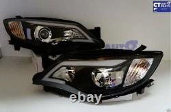 Black LED DRL Day-Time Projector Head Lights for 08-13 Subaru Impreza RS WRX Sti