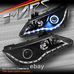 Black LED DRL HALO Angel Eyes Projector Head Lights for CIVIC 06-12 FD1 FD2 JDM